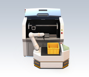 無人搬送車AGVがロボットアームで3Dプリンタから成型済の部品を取り出すイメージの写真素材 [FYI04646348]