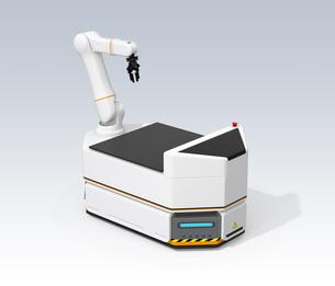ロボットアーム付きの無人搬送車AGVのイメージの写真素材 [FYI04646351]