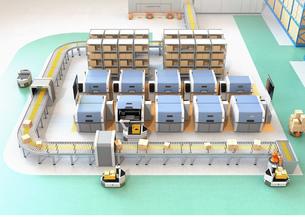 無人搬送車AGV、ロボットアーム、3Dプリンタなど装備されているスマート工場のコンセプトの写真素材 [FYI04646352]