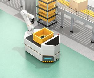 ベルトコンベアの横に走行しているロボットアーム付きの無人搬送車のイメージ。スマート工場のコンセプトの写真素材 [FYI04646356]