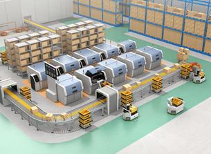 無人搬送車AGV、ロボットアーム、3Dプリンタなど装備されているスマート工場のコンセプトの写真素材 [FYI04646357]