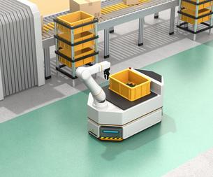 ベルトコンベアの横に走行しているロボットアーム付きの無人搬送車のイメージ。スマート工場のコンセプトの写真素材 [FYI04646358]