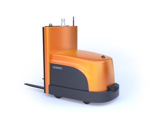 白バックにバッテリー式自動運転フォークリフト車。オリジナルデザインの写真素材 [FYI04646370]