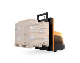 白バックに貨物パレットを運搬するバッテリー式自動運転フォークリフト車のイメージの写真素材 [FYI04646372]
