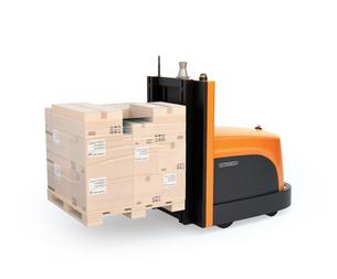 白バックに貨物パレットを運搬するバッテリー式自動運転フォークリフト車のイメージの写真素材 [FYI04646374]