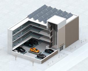 自動搬送ロボットを利用して無人駐車できる全自動駐車システムのコンセプトアイソメイメージの写真素材 [FYI04646391]
