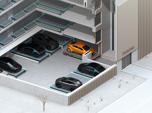 自動搬送ロボットを利用して無人駐車できる全自動駐車システムのコンセプトアイソメイメージの写真素材 [FYI04646392]