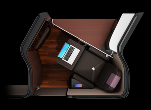 黒バックに個室型ビジネスクラススイートのコンセプトイメージの写真素材 [FYI04646397]
