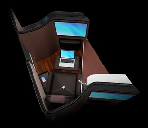 黒バックに個室型ビジネスクラススイートのコンセプトイメージの写真素材 [FYI04646402]