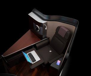 黒バックに個室型ビジネスクラススイートのコンセプトイメージの写真素材 [FYI04646405]