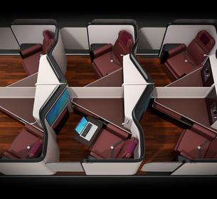 個室型ビジネスクラススイート(中央列)レイアウトのコンセプトイメージの写真素材 [FYI04646409]