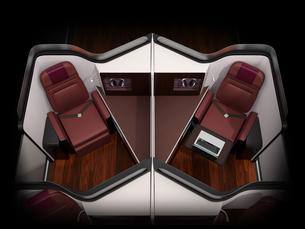 黒バックに個室型ビジネスクラススイート(中央列)のコンセプトイメージの写真素材 [FYI04646410]
