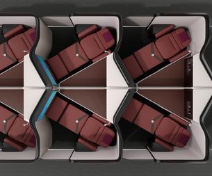 個室型ビジネスクラススイート(中央列)のフルフラットシート状態のイメージ。の写真素材 [FYI04646411]