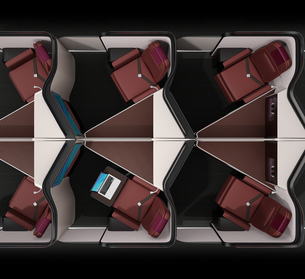 個室型ビジネスクラススイート(中央列)のフルフラットシート状態のイメージ。の写真素材 [FYI04646412]
