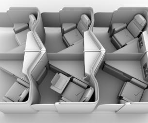 個室型ビジネスクラススイート(中央列)レイアウトのクレイレンダリングイメージの写真素材 [FYI04646413]