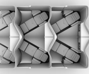 個室型ビジネスクラススイート(中央列)レイアウトのクレイレンダリングイメージの写真素材 [FYI04646414]