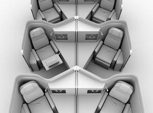 個室型ビジネスクラススイート(中央列)レイアウトのクレイレンダリングイメージの写真素材 [FYI04646418]