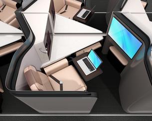 個室型ビジネスクラススイート(中央列)レイアウトのコンセプトイメージの写真素材 [FYI04646421]