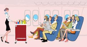 飛行機で機内食を待つ人たちと、カートで飲み物や料理を運ぶキャビンアテンダントのイラスト素材 [FYI04646429]