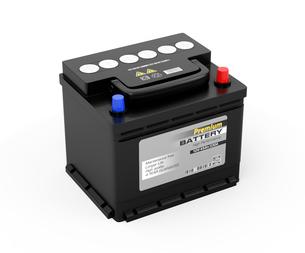 白バックに黒色のカーバッテリーのイメージの写真素材 [FYI04646430]