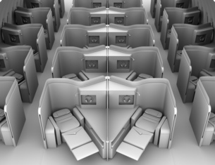 個室型ビジネスクラススイート(中央列)レイアウトのクレイレンダリングイメージの写真素材 [FYI04646431]