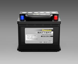 グレイ背景に黒色のカーバッテリーの正面イメージの写真素材 [FYI04646433]