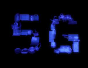 X線スタイルでスマート家電、ドローン、自動運転車などをレンダリングした「4G」文字。の写真素材 [FYI04646454]