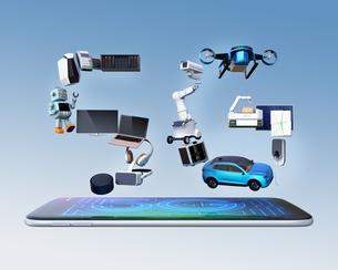 スマホにスマート家電と電気自動車などで表現した5G文字。「5G」コンセプトの写真素材 [FYI04646457]