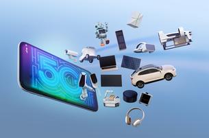 スマホから飛び出すスマート家電と電気自動車。「5G」コンセプトの写真素材 [FYI04646460]