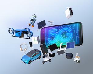 スマホから飛び出すスマート家電と電気自動車。「5G」コンセプトの写真素材 [FYI04646464]