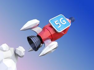 ローポリゴンのロケットに「5G」と表示しているモニターを搭載されている。5Gのコンセプトの写真素材 [FYI04646479]