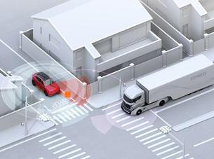車間通信で幹線道路に合流するSUVがトラックとの出会い頭事故を回避。コネクテッドカーコンセプトの写真素材 [FYI04646481]