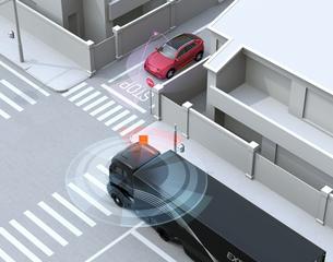 車間通信でトラックが幹線道路に合流したいSUVとの出会い頭事故を回避。コネクテッドカーコンセプトの写真素材 [FYI04646484]