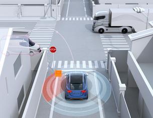 車間通信で幹線道路に合流するSUVがミニバンとの出会い頭事故を回避。コネクテッドカーコンセプトの写真素材 [FYI04646485]