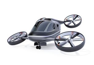 白バックに自動運転パッセンジャードローンのイメージ。空飛ぶ車のコンセプトの写真素材 [FYI04646494]