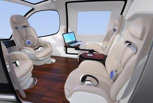 空飛ぶタクシーのインテリアイメージ。前列シートが後ろ向きに調整可能の写真素材 [FYI04646508]
