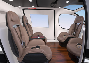 空飛ぶタクシーのインテリアイメージ。前列シートが後ろ向きに調整可能の写真素材 [FYI04646512]