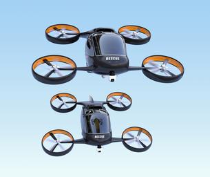 編隊飛行しているレスキュードローンの正面イメージの写真素材 [FYI04646559]