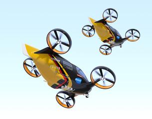 編隊飛行しているレスキュードローンのイメージの写真素材 [FYI04646560]
