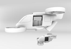編隊飛行している支援物資運搬レスキュードローンのクレイレンダリングイメージの写真素材 [FYI04646562]