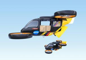 編隊飛行している支援物資運搬レスキュードローンのイメージの写真素材 [FYI04646565]