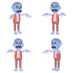 ハロウィン ゾンビのキャラクター (1_4) 四点セット カット集のイラスト素材 [FYI04646570]