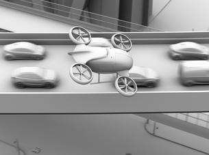渋滞している車列の上空を飛行する自動運転ドローンタクシーのグレイシェーディングイメージの写真素材 [FYI04646574]