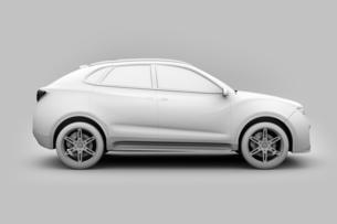 背景用クレイシェーディングの電動SUVのイメージの写真素材 [FYI04646601]
