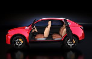 メタリックレッド色の電動SUVのインテリアイメージの写真素材 [FYI04646606]