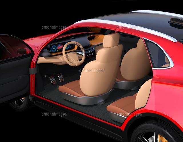 メタリックレッド色の電動SUVのインテリアイメージの写真素材 [FYI04646607]