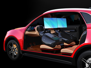 シートに収納可能な折畳式モニターでビデオ会議。自動運転車におけるワークスタイルのコンセプト提案の写真素材 [FYI04646611]