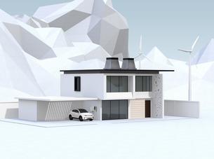 屋根にソーラーパネルが備え、風力発電機があるスマートホームのイメージの写真素材 [FYI04646618]