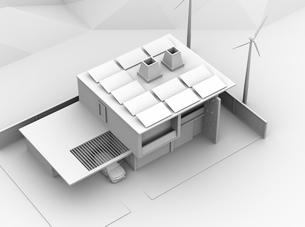 屋根にソーラーパネルが備え、風力発電機があるスマートホームのクレいレンダリングイメージの写真素材 [FYI04646620]
