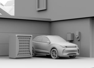 EV使用済みのバッテリー再利用リユースシステムでEVや家に電力供給するクレイレンダリングイメージの写真素材 [FYI04646626]